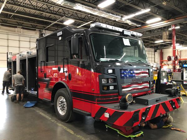 fire engine being built by Rosenbauer America