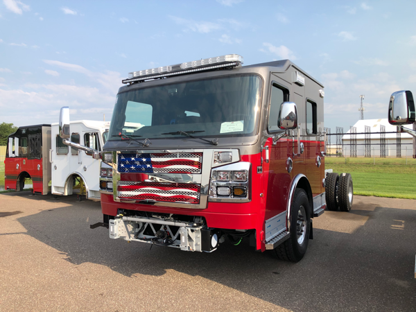 one of two twin Rosenbauer fire trucks being built for the Manhattan FPD