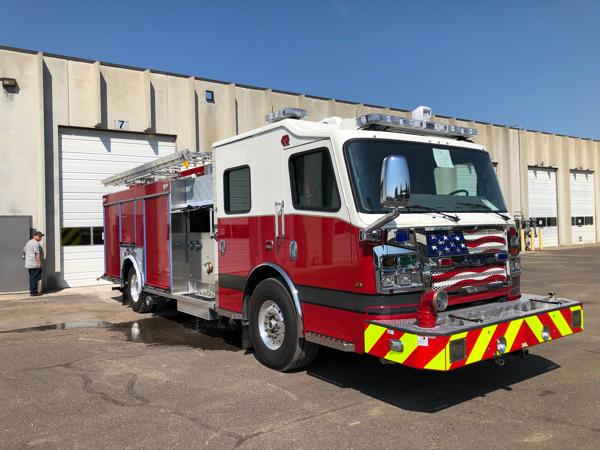 flag grille on Rosenbauer fire engine