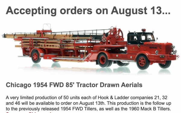 Fire Replicas 1954 FWD 85' tractor-drawn aerial Chicago FD model