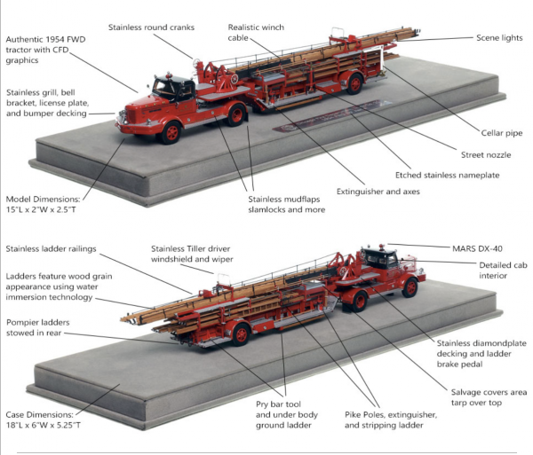 Fire Replicas model of Chicago FD 1954 FWD tractor-drawn aerial