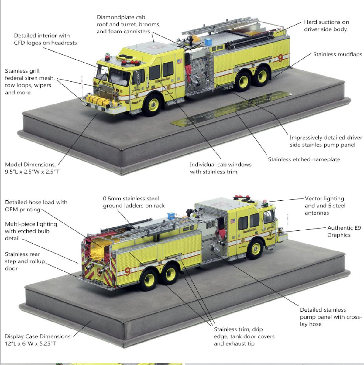 Fire Replicas model of CHICAGO O'HARE INTERNATIONAL AIRPORT 2014 E-ONE CYCLONE II - ENGINE 9