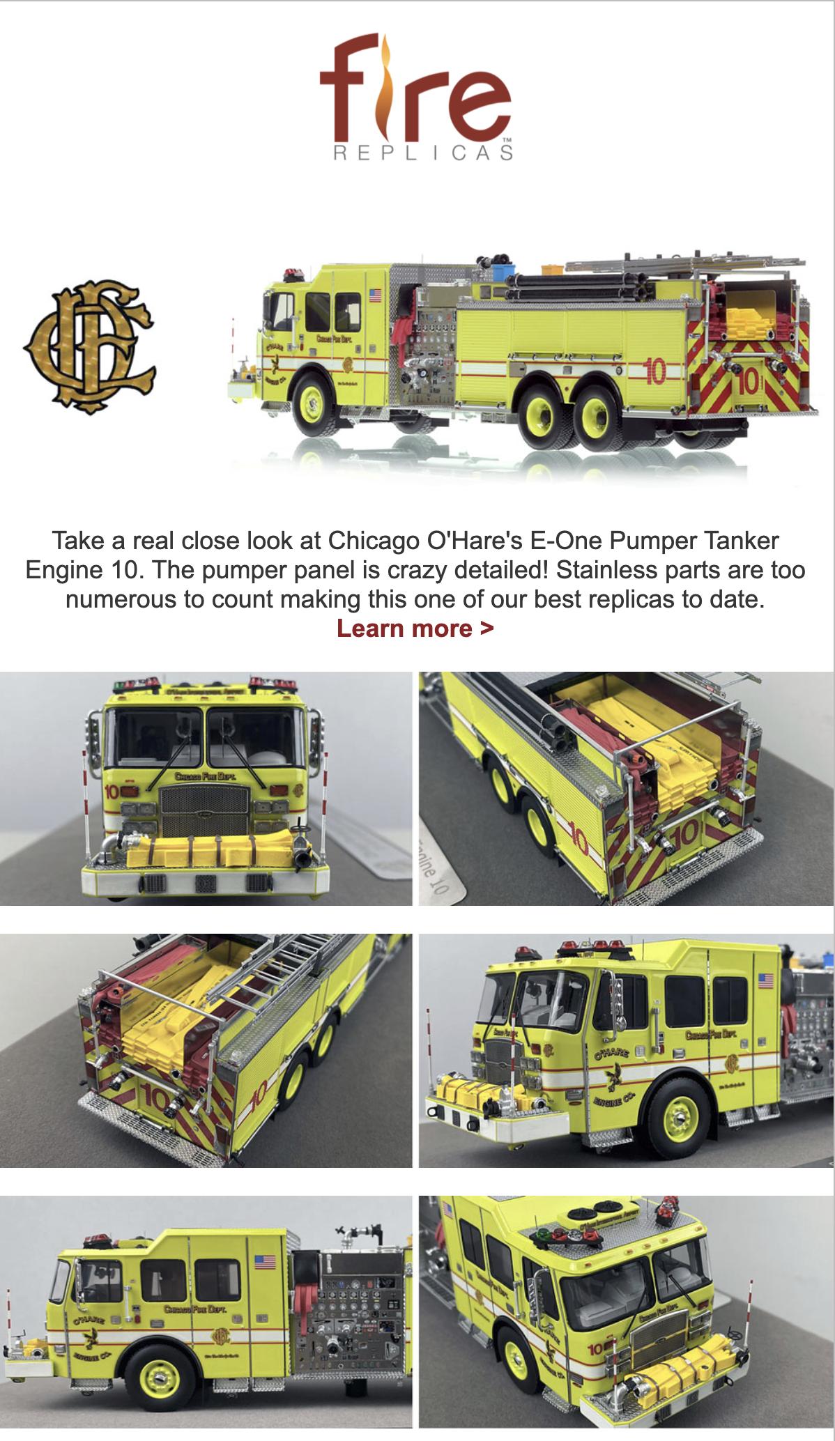 Fire Replicas model of CHICAGO O'HARE INTERNATIONAL AIRPORT 2014 E-ONE CYCLONE II - ENGINE 10