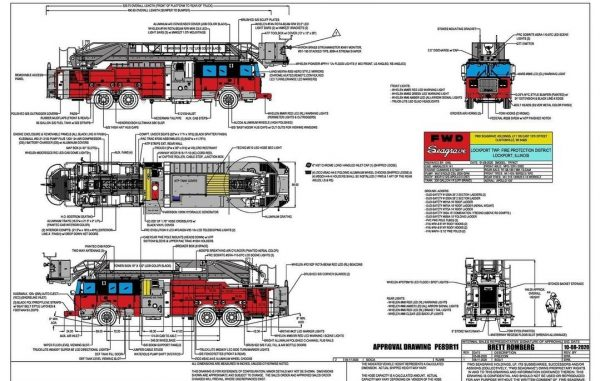 drawing of Seagrave Marauder Apollo platform aerial for the Lockport Township FPD in Illinois