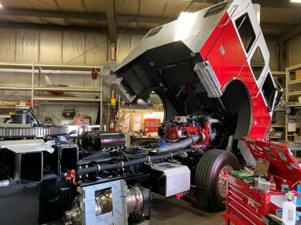 Sutphen SL100 fire truck in production