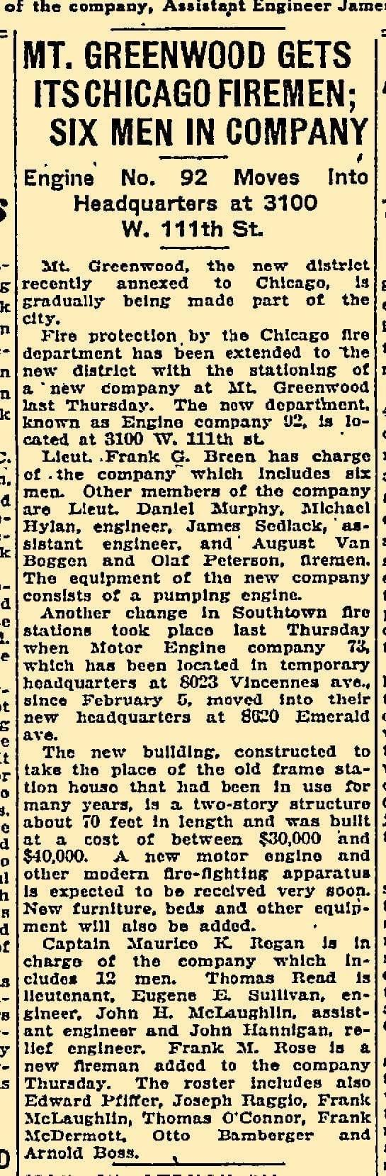 Vintage news article about Chicago Engine 92 being organized along with Engine 73's new firehouse. The article is from 1927.