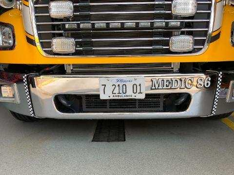 ambulance decal in honor of Clarendon Hills Firefighter Bobbie Bowen's retirement