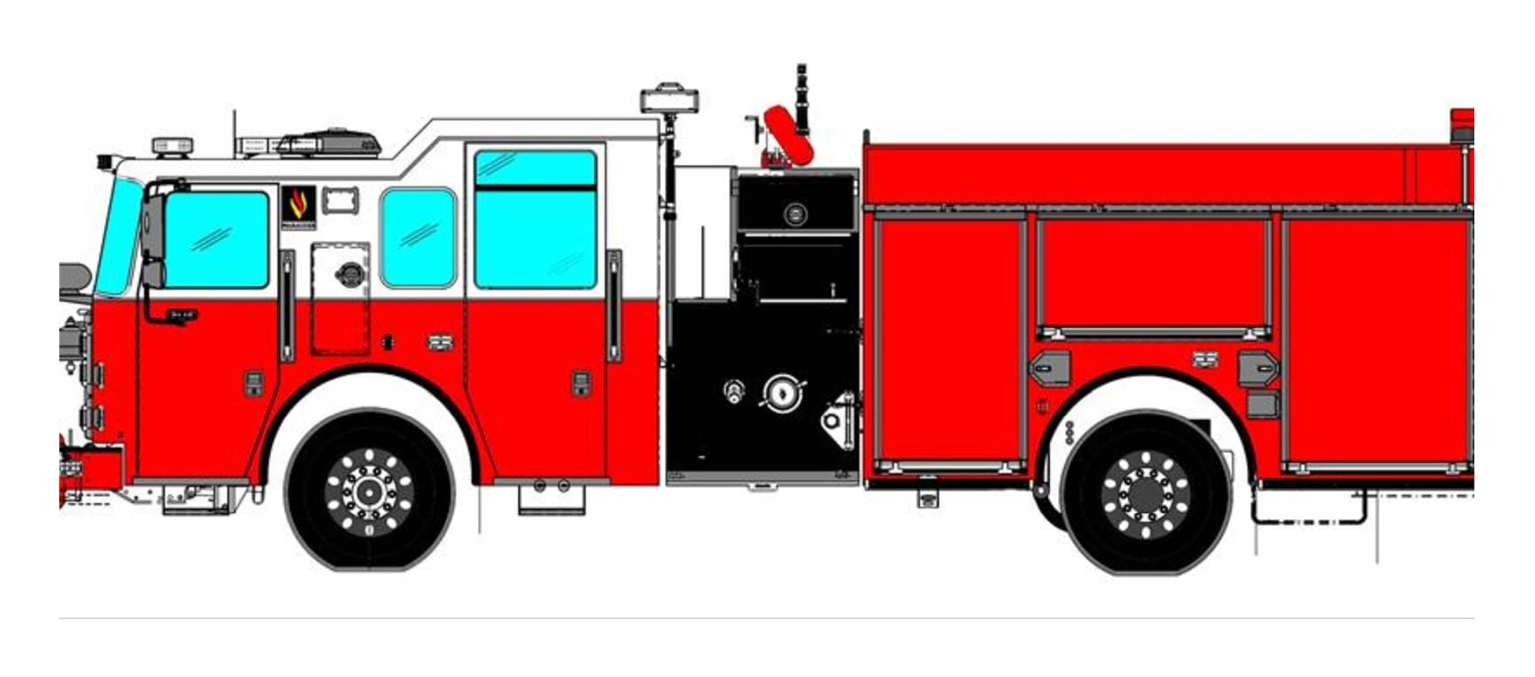 drawing of a Seagrave Marauder pumper for the West Allis Fire Department of Wisconsin