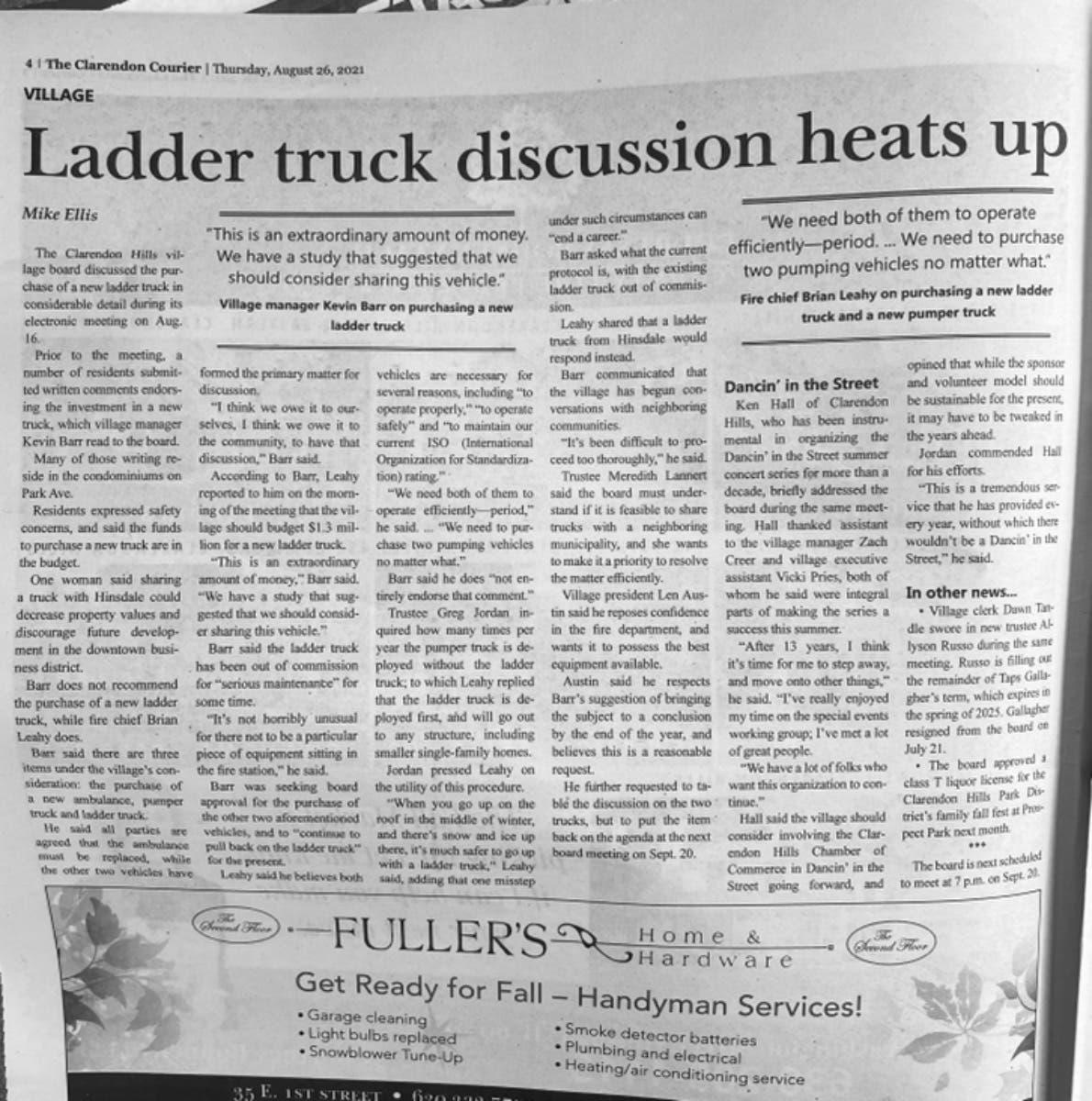 Clarendon Hills fire truck dispute