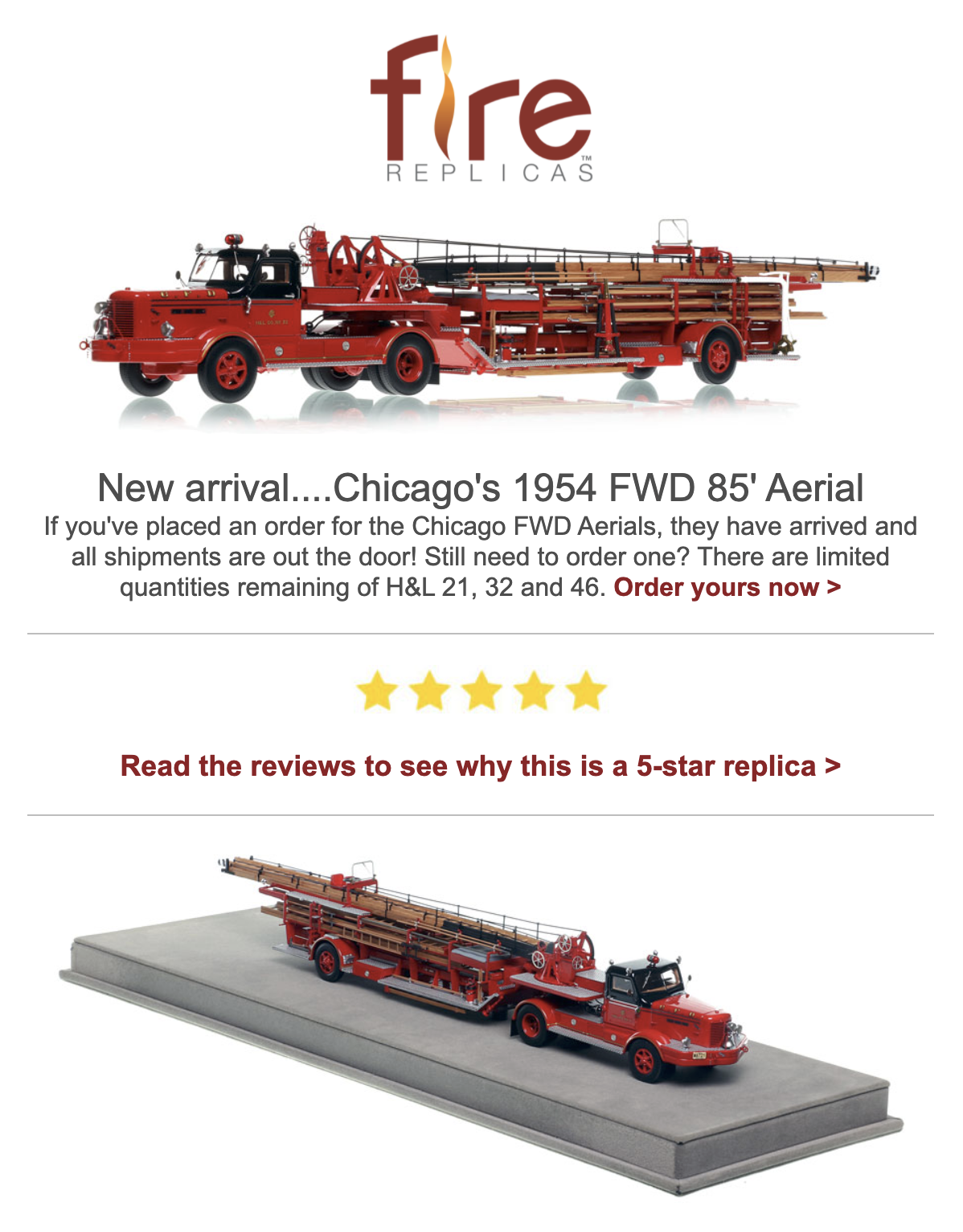 Fire Replicas Classic Chicago 1954 FWD Tillered aerial ladder model