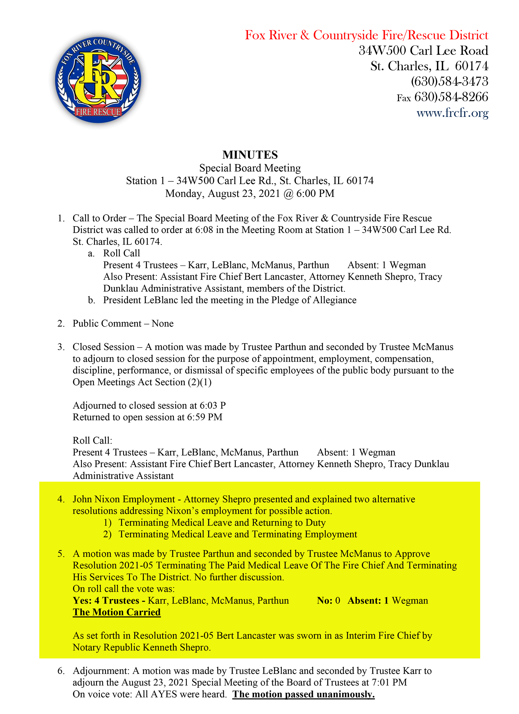 Fox River & Countryside Fire/Rescue District Special Board Meeting Minutes 8-23-2021