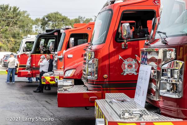 Rosenbauer America Commander fire engines on display in Lemont, IL