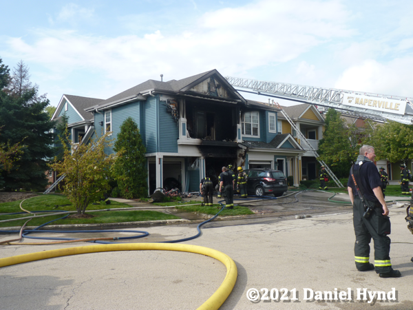 aftermath of a townhouse fire in Naperville