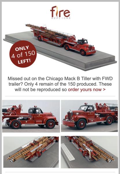 Fire Replicas model of Chicago's 1960s B-Model Mack TDA aerial