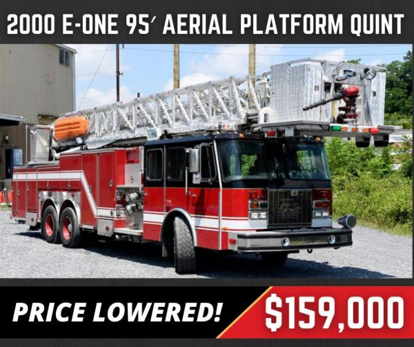 Former Tinley Park FD 2000 E-ONE 95' tower ladder for sale