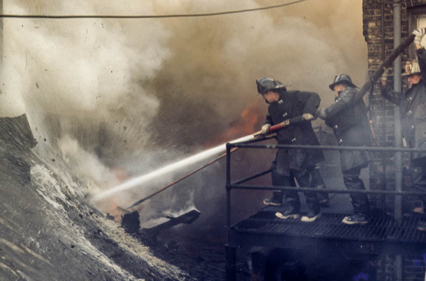 vintage photo of Chicago Firefighters battling a fire in 1970
