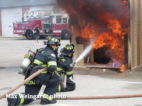 Firefighters demonstrate home sprinklers