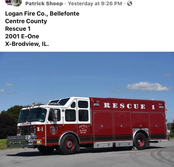 Former Broadview FD squad now with the Logan Fire Co No 1, Bellefonte, Pennsylvania