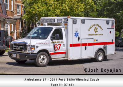 Chicago FD Ambulance 67 - 2014 Ford E450/Wheeled Coach Type III (C163)