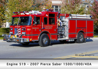 Lake Bluff Engine 519 - 2007 Pierce Saber 1500/1000/40A