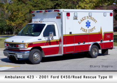 Lake Forest FD Ambulance 423 - 2001 Ford E350 -Road Rescue Type III