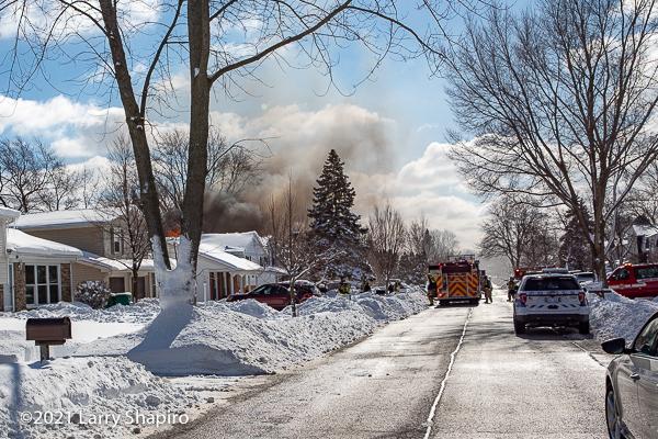 House fire at 605 Patton Drive in Buffalo Grove, IL 2-1-21. Larry Shapiro photo