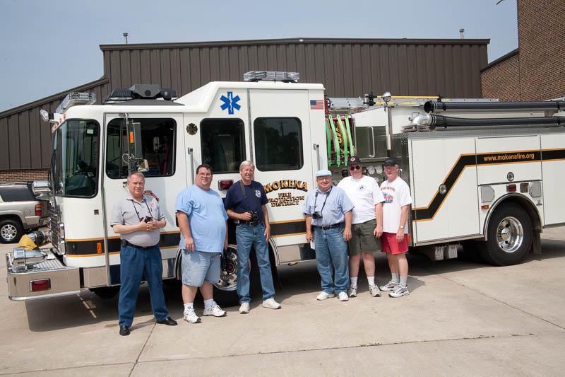 George and other fire apparatus enthusiasts documenting apparatus Mokena.