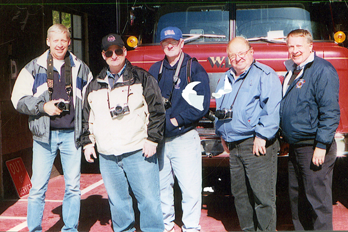 George and fellow fire apparatus photographers.