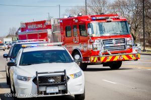 Wheeling FD Engine 42 Rosenbauer America Commander fire engine blocking at a crash scene