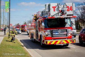 Rosenbauer America Commander fire trucks on scene
