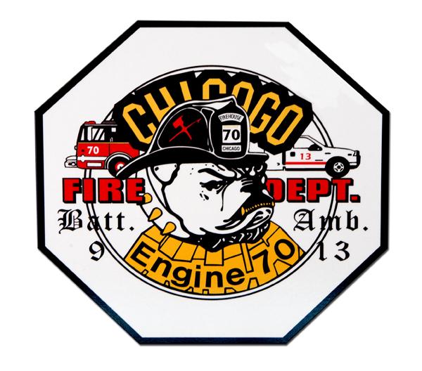 Chicago FD Engine 70 Ambulance 13 & Battalion 9 decal
