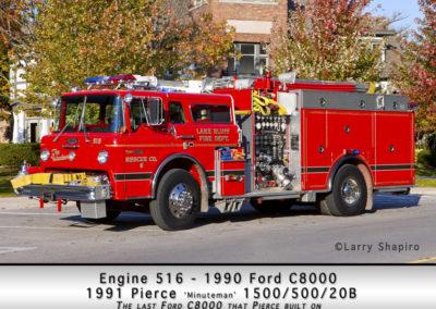 Lake Bluff Engine 516 - 1990 Ford C8000 1991 Pierce Minuteman 1500/500/20B