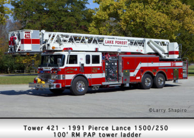 Lake Forest FD Tower 421 - 1991 Pierce Lance 1500-250 100' tower ladder
