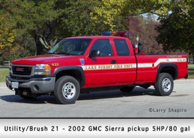 Lake Forest FD Utility/Brush 21 - 2002 GMC Sierra pickup 5HP/80 GWT