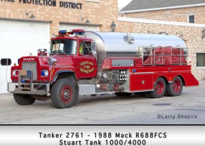 Grayslake FD Tanker 2761 - 1988 Mack R688FCS Stuart Tank 1000/4000